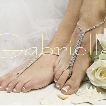 Barefoot sandals- beach wedding barefoot  sandal- bridal foot jewelry-rhinestone barefoot sandal-wedding shoes-footless sandles-Gabriella