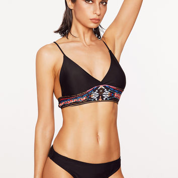 Black Tribal Print Cross Back Bikini Set