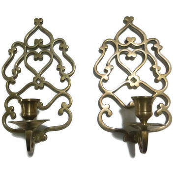 Brass Wall Sconce Pair Ornate Candle Holder