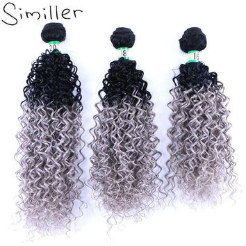 LMF78W Similler 210g Ladies Black Grey Ombre Hair Extensions Synthetic Hair Weaving Bundle Curly Weft