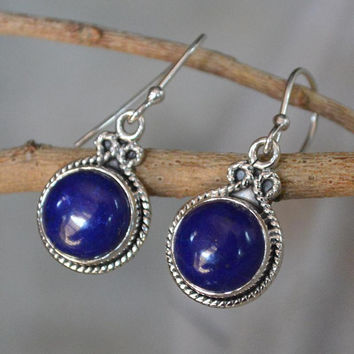 Lapis Earrings,925 Sterling Silver Earrings,Lapis Dangle Earring,Stone Earrings,Silver Lapis Dangle Earrings,Gorgeous Lapis Lazuli Jewelry