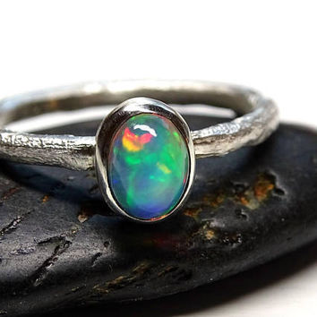 opal engagement ring silver, molten opal ring silver, branch opal ring for her, twig opal ring October birthstone opal anniversary gift