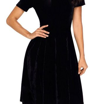 Black Velvet Off Shoulder Midi Skater Dress
