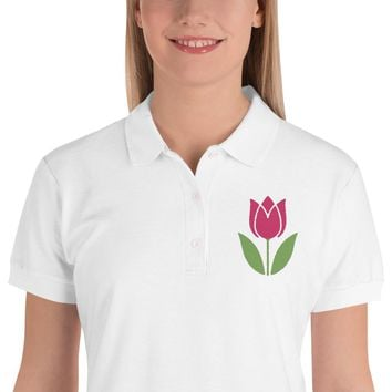 Tulip Embroidered Women's Polo Shirt