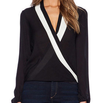 V-neck Cross Long Sleeve Chiffon Blouse