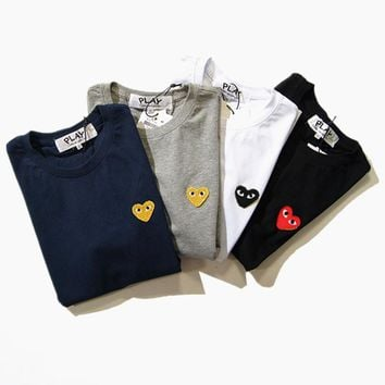 Red Heart couple t-shirt CDG PLAY T shirt brand clothing heart casual shirt Comme Des Garcons PLAY t shirt heart tee shirts Men