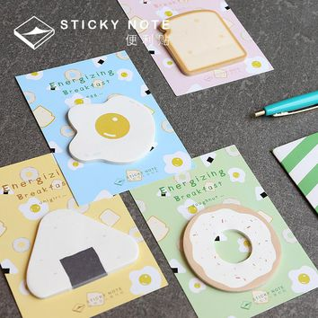 Energizing Breakfast Kawaii Memo Pad Sticky Notes Memo Bookmark Papelaria Escolar School Supplies