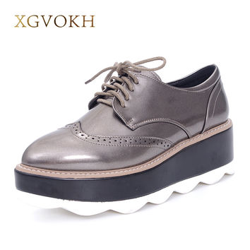 XGVOKH 3 colors Women Pumps Fashion casual Bullock Pointed Toe Lace-Up Med Heels Dress Woman Shoes