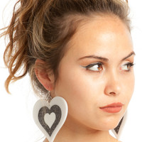 Black & White Power Puff Heart Earrings