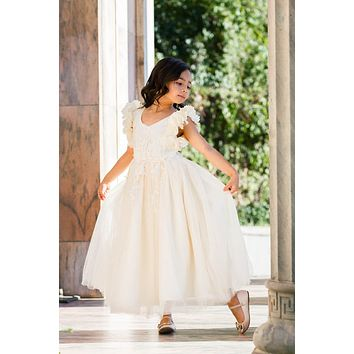 Ariana Ivory Petal Sleeve Satin & Lace Dress Gown