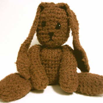 Crochet Plush Brown Bunny Rabbit Bamboo Yarn by RopeSwingStudio