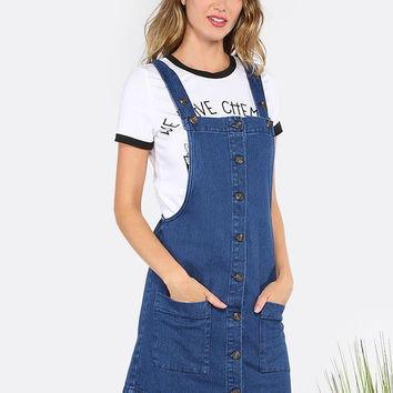 Button Front Denim Overall Dress DENIM | MakeMeChic.COM