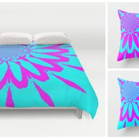 Duvet Cover & 2 Pillow Set,  Turquoise and Blue Modern Flower Set, Colorful Duvet, Colorful Blanket, Bedroom Decor, Dorm Decor, Kids Room