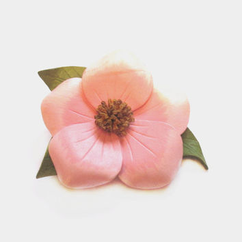 Vintage Tooled Leather Brooch, Handmade Pink Flower Pin