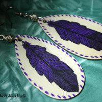 Purple Feather Earrings - Hand Painted Earrings - Original Art - Hand Drawn Feathers - Wooden Earrings - Gift For Her - OOAK - Lightweight