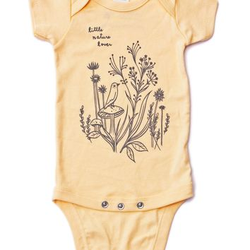 Little Nature Lover Onesuit - Organic Baby Onesuit (Buttercup Yellow) by Susie Ghahremani / boygirlparty.com