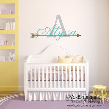 Arrow name wall decal, nursery wall decal, boho wall decor, monogram wall decal, nursery decor, nursery decals, childrens name decal