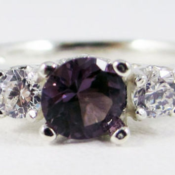 Alexandrite and CZ Three Stone Ring Sterling Silver