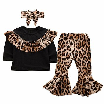 Fashion Kids Baby Girl Fall Outfits Leopard Ruffles Sweatshirts Flare Pant Headband 3Pcs Autumn Clothing Kids Girl Sets 0-5Y