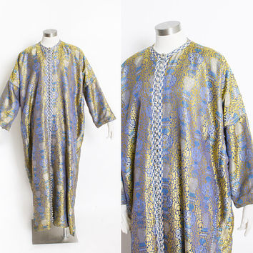 Vintage 1960s Ethnic Caftan - Gold & Blue  Embroidered Silk Full Length Robe Dress 70s - Large L