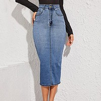 Blue Split Back Bodycon Denim Skirts Womens High Waist Slim Fitted Casual Long Pencil Skirt