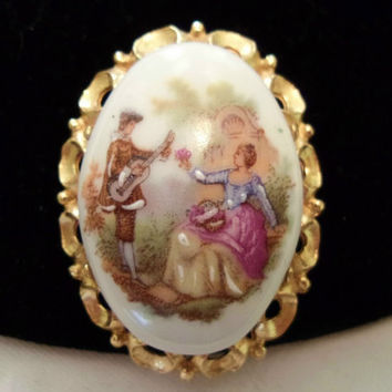 LIMOGES Vintage 1950s Fragonard France Porcelain Courtship Hand Paint Brooch Pin
