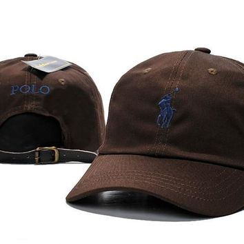 Brown POLO Logo Embroidered Baseball Cap Hat
