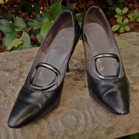 Vintage Shoes Andrew Geller Black Pearl Leather 50's /60's Mad Men Pumps with Gray Pearl Lucite