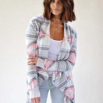 Pink and Grey Tribal Print Cardigan