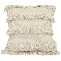 Rapid Fringe Square Throw Pillow in Natural