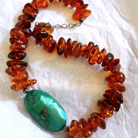 Amber and Chrysocolla Sterling Silver Necklace, Huge Nugget, Vintage
