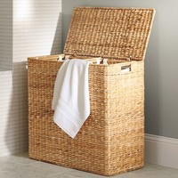 Perry Divided Hamper & Liner- Savannah Weave
