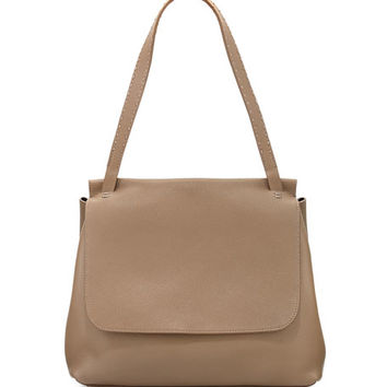 THE ROW Sidekick Fine-Grain Leather Shoulder Bag, Khaki
