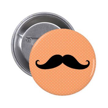 Funny Mustache On Coral Polka Dot Pattern Pinback Button