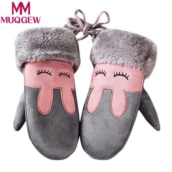MUQGEW Winter Baby Boy Girl Faux Suede Kids Mitten Winter Children Cartoon animal Twist Gloves Warm Full Finger Gloves