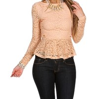 Blush Lace Peplum Top