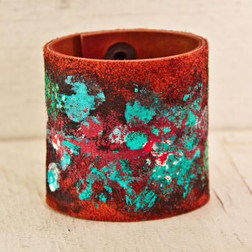 Leather Jewelry Boho Gypsy Bracelet Cuff Handmade Wristband Valentines Day Sale