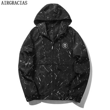 AIRGRACIAS Jacket Men Fashion Casual Mens Jacket Sportswear Print Bomber Jacket Mens Hooded jackets and Coats EU/US Size M-3XL