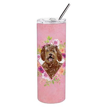 Labradoodle Pink Flowers Double Walled Stainless Steel 20 oz Skinny Tumbler CK4228TBL20