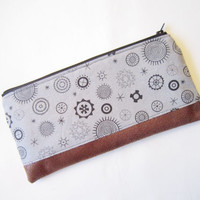 Zipper pouch/ Pencil case/ Writing case/ Small cosmetic bag / abstract gears pattern/ Handmade cute pouch