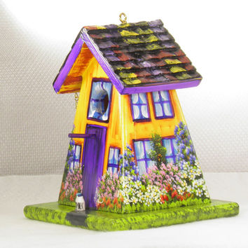 Yellow Orange and Purple Birdhouse with Bottom Openning for Clean Out , Environmentally Friendly