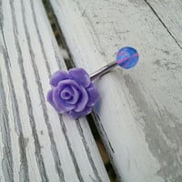Purple Rose Belly Button Ring Jewelry Stud Navel Piercing Rosebud Flower Bud Bar Barbell