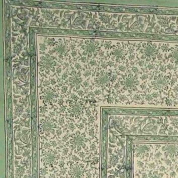 Daisy Chain Block Print Tapestry Floral Bedspread Cotton Coverlet Full Twin Green