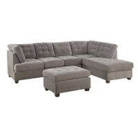 Poundex Bobkona Fairfax Waffle Suede Sectional Sofa in Charcoal - Walmart.com
