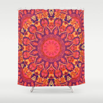 Sunburst Mandala, Abstract Star Circle Dance Shower Curtain by Diane Clancy's Art