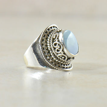 Blue Fire Opal Sterling Silver Statement Ring