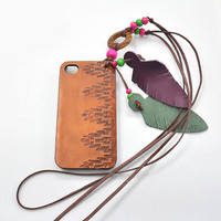 Boho Phone Case, Leather Phone, Indie Accessories, Stamped Leather Phone Accessories, Aztec Case with Lanyard for Iphone 5 (IP53BN001LY)
