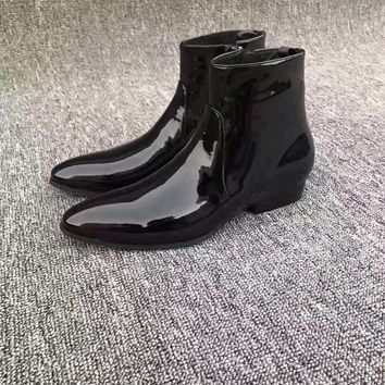 feba4c88418e Limited New Chelsea Boots Point Toe Kanye West Boots Genuine Lea