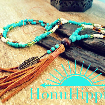Boho tassel necklace, native american hippie necklace