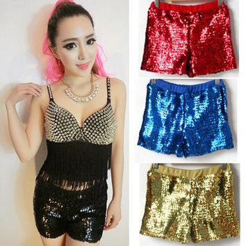 Spring summer dance hip hop top female Jazz Gold Silver Pinl Red Blue costume wear  sequined spliced shorts